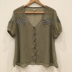Ecote Anthropologie Embroidered Sheer Top